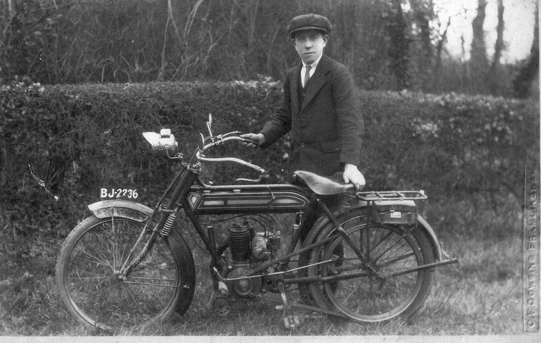 Bernard Kemp with motorcycle