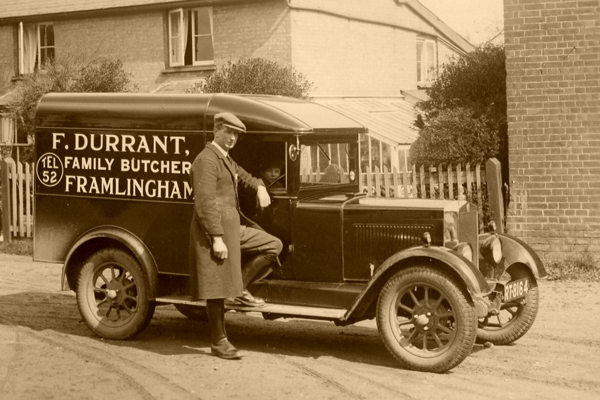 Fred Durrant and his delivery van, 1932