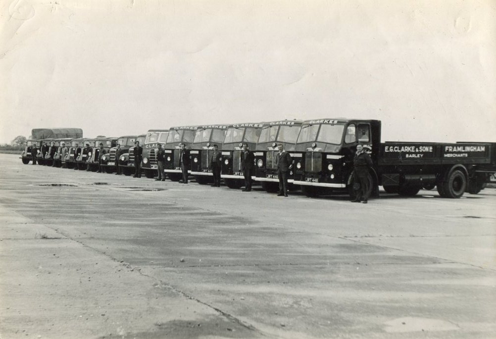 Clarke's lorries at Parham,1950