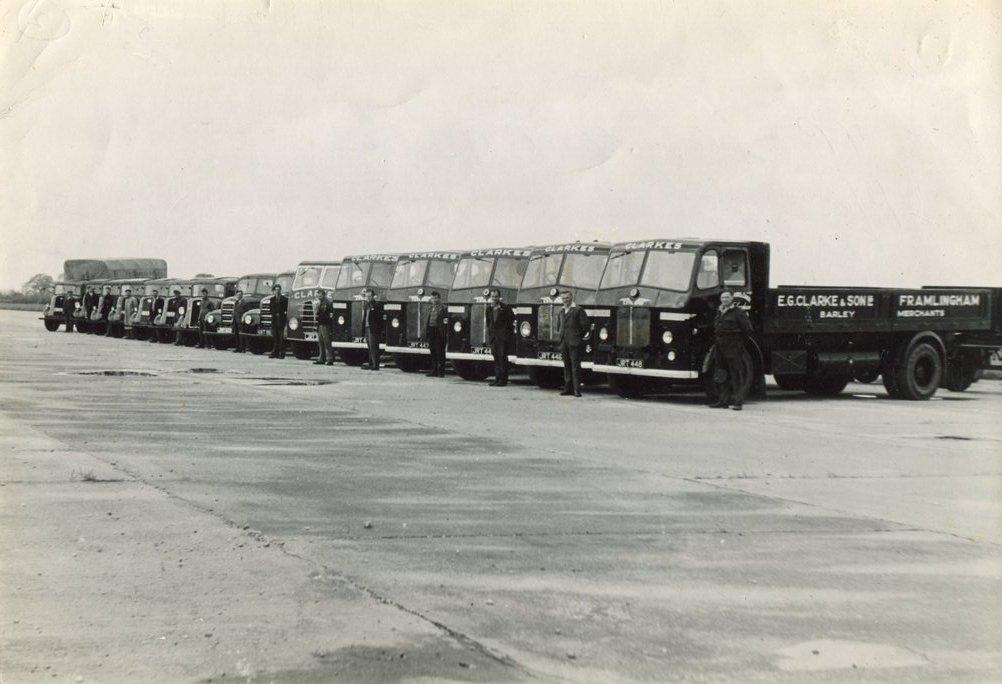 Clarke's lorries at Parham,1950