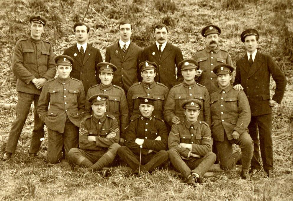 Local men on the Castle hills, c.1917